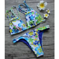 Trébol estampado a doble cara Bikini Split Triángulo traje de baño Bikini conjunto