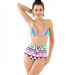 Traje de baño de bikini de cintura alta triángulo a rayas de colores mezclados sexy
