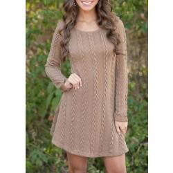 8-color dulce Twist Weave cuello redondo de manga larga de punto engrosando vestido de suéter