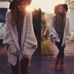Moda Batwing punto larga Cardigan Sweater Escudo de gran tamaño de prendas de punto
