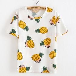 Camisetas de verano de algodón estampado de piña únicas