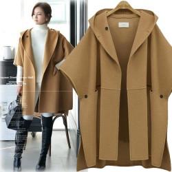 Nueva chaqueta de lana con capucha sin mangas con capucha sin mangas de lana de gran tamaño Abrigo de lana con capucha de lana de gran tamaño