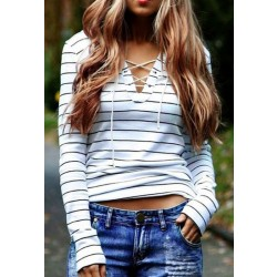 Camiseta casual de manga larga con rayas cruzadas para mujer