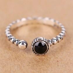 Vendimia Giro Negro Ágata Ajustable Mujer Plata Abierto anillo