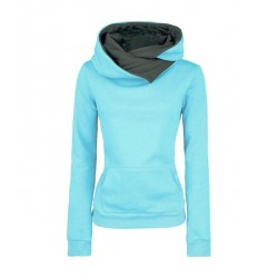 Suéter con capucha larga de color puro con capucha y solapa de moda