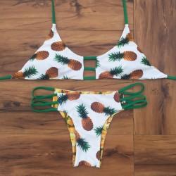 Bikini con estampado de piña Vestido de bikini retro con tirantes y traje de baño