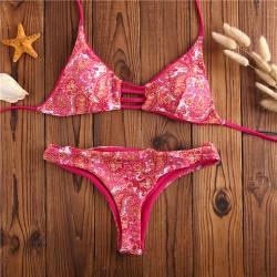 Conjunto de bikini con estampado de triángulos de dos piezas de anacardo