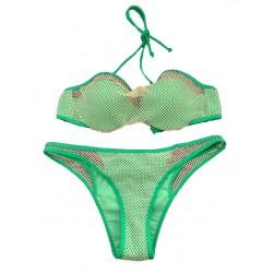 Traje de baño verde del traje de baño del bikiní atractivo de la costura azul