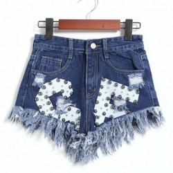 Nuevas letras impresas bordes irregulares remache pantalones cortos de mezclilla de cintura alta Jeans mujeres pantalones cortos