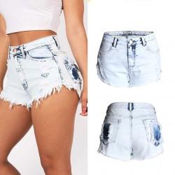 Pantalones vaqueros de cintura alta nuevos pantalones vaqueros lavados pantalones cortos de mezclilla más el tamaño de las mujeres pantalones cortos
