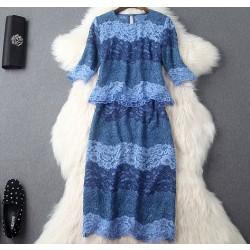 Vestido de fiesta de traje de falda de encaje de dos piezas con colores atractivos