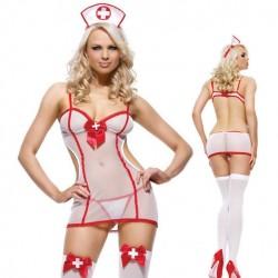 Uniforme sexy tentación disfraz enfermera Cosplay ver a través de Lady lencería