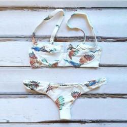 Bikini con sujetador acolchado conjunto traje de baño de la impresión traje de baño de las mujeres