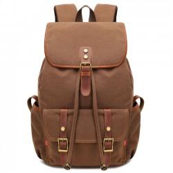 Retro empalme remaches mochila con cordón Viajar gran capacidad al aire libre mochilas de lona