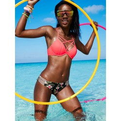 Cruzar Correas Cuadrícula Bikini Vendaje Trajes de baño