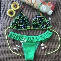 Traje de baño atractivo del traje de baño de los bikiníes del traje de baño de los pétalos verdes frescos