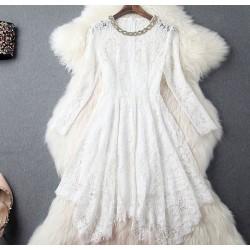 Rebordear Rhinestone collar Irregular falda de encaje vestido delgado vestido de fiesta