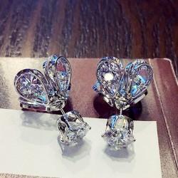Pendientes plateados chapados en oro plateado plateado plata con diamantes de Petaloid bordeados con diamantes de Glowworm.