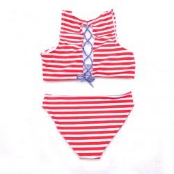 Correa de espalda a rayas de cintura baja Bikini clásico traje de baño Traje de baño Traje de baño