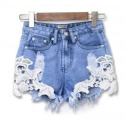 Verano Hueco Fuera Pantalones cortos de mezclilla de encaje de ganchillo Pantalones cortos de mujer de jeans de agujeros