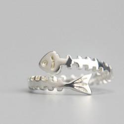 Plata Encantador Pescado Huesos Apertura anillos Personalizado niñas anillos