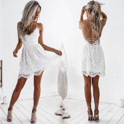 Sweet Hollow Stitching Backless Sling Flower V-neck Lace Summer Dress