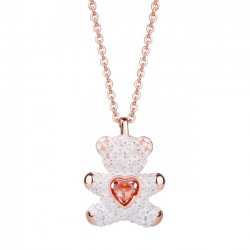 Joyería del corazón de moda Rosa Diamante Amante Regalo Mujeres Collar Teddy Bear Colgante Collar de plata