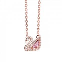 Lindo cisne rosa de cristal colgante de diamantes de imitación collar de plata amante de las mujeres presentes collar