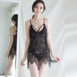 Lencería sexy Correa Camisón Perspectiva Pijama Encaje Transparente Lencería erótica hueca