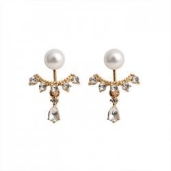 Gotas de agua dulce Rhinestone de perlas dama Pendientes Espárragos