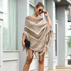 Ocio Otoño Capa Mantón Borla Geometría Cuello redondo Suéter Mujer Suéter