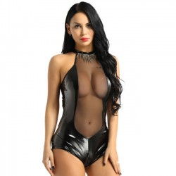 Sexy Imitation Leather Open Bust Mesh Stitching Hollow Conjoined Women Lingerie