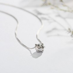 Lovely Silver Animal Little Pig Pendant Women Necklace