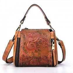 Bolso de hombro de cuero real retro rosa Bolso en relieve de flores hechas a mano