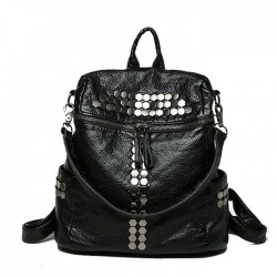 Leisure Multifunction Rivet Black Soft Leather Shoulder Bag School Backpacks