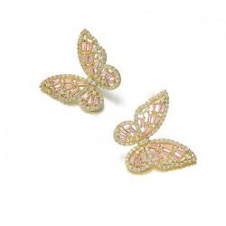 Único Mariposa Pendientes Zircon Hollow Mujer Pendientes de animales Studs