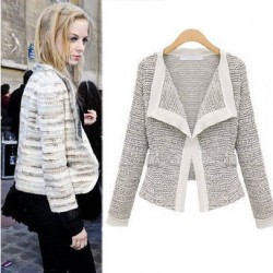 Abrigo de solapa de manga larga de lino de calidad de moda