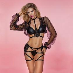 Sexy Ver a través de Lencería de encaje de manga larga Sujetador de cuero de PU Tanga de vendaje Ropa de club de aspecto mojado negro Lencería de mujer