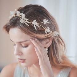 Accesorios para el cabello de novia hechos a mano con rama de flor única de moda