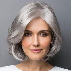 Peluca corta con flequillo oblicuo gris único Peluca de pelo rizado medio femenino