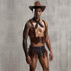 Sexy vaquero Cosplay personalidad ropa interior de mezclilla uniforme tentación salvaje borla ropa interior para hombres