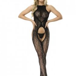 Sexy Negro Uniforme Tentación Pijamas de red abierta Medias de una pieza Lencería de mujer combinada