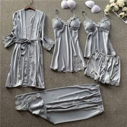 Sexy camisón de seda con honda traje de cinco piezas camisón de encaje para mujer primavera otoño pantalones cortos finos pijamas femeninos