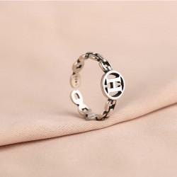 Joyas de plata con letra H hueca única retro para anillos de apertura para niñas y mujeres