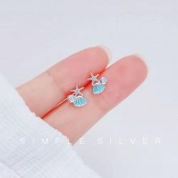 Joyería dulce del océano de cristal de la estrella de mar de la concha azul para su playa Pendientes hipoalergénicos de las mujeres