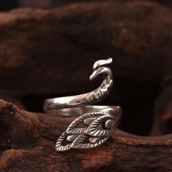 Folk Style Peacock Open Ring Original Anillo Phoenix de plata