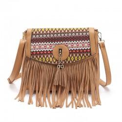 Retro Folk Stitching Tassel Bag Shoulder Bag Messenger Bag