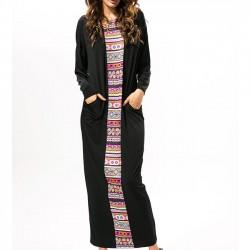 Manga larga de las mujeres que suelda la manga que empalma la impresión vestido flojo de un solo paso