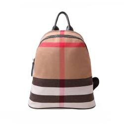 Estilo simple tela escocesa rayas lona mochila bolsas de viaje
