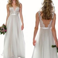 Vestido sin mangas de la boda del partido del cordón de las mujeres atractivas del cuello en v largo